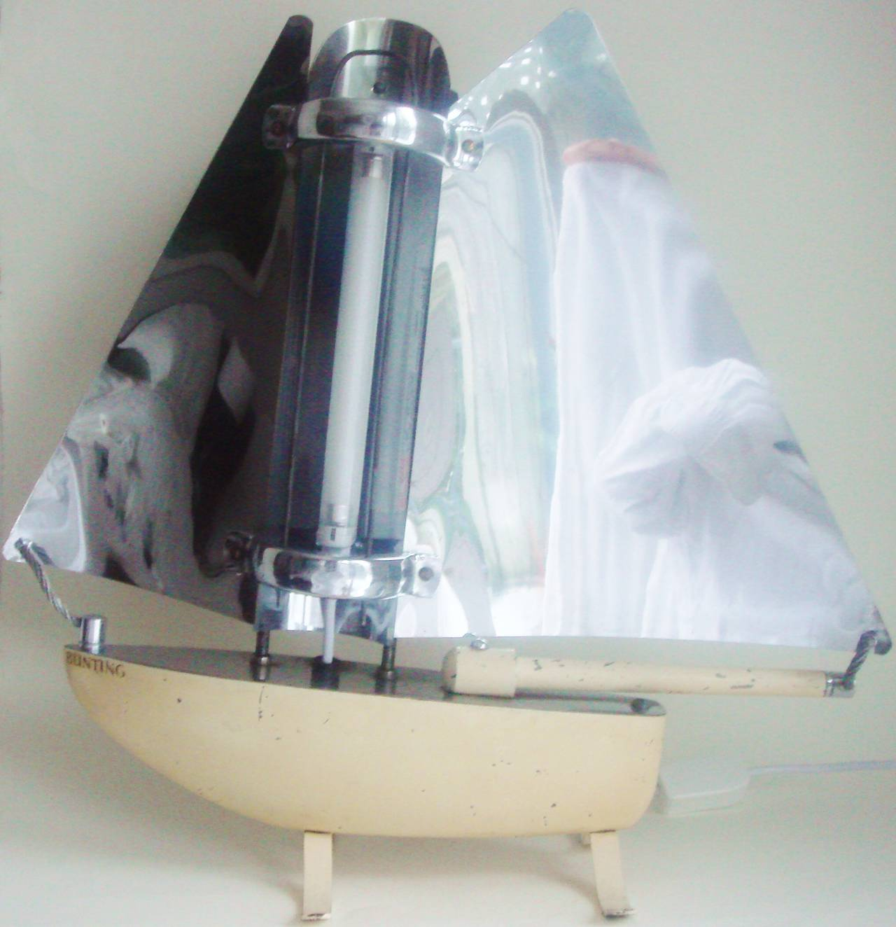 Iconic English Art Deco Bunting Figural Yacht Floor Lamp Conversion. In Good Condition For Sale In Port Hope, ON