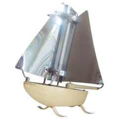 Iconic English Art Deco Bunting Figural Yacht Floor Lamp Conversion.
