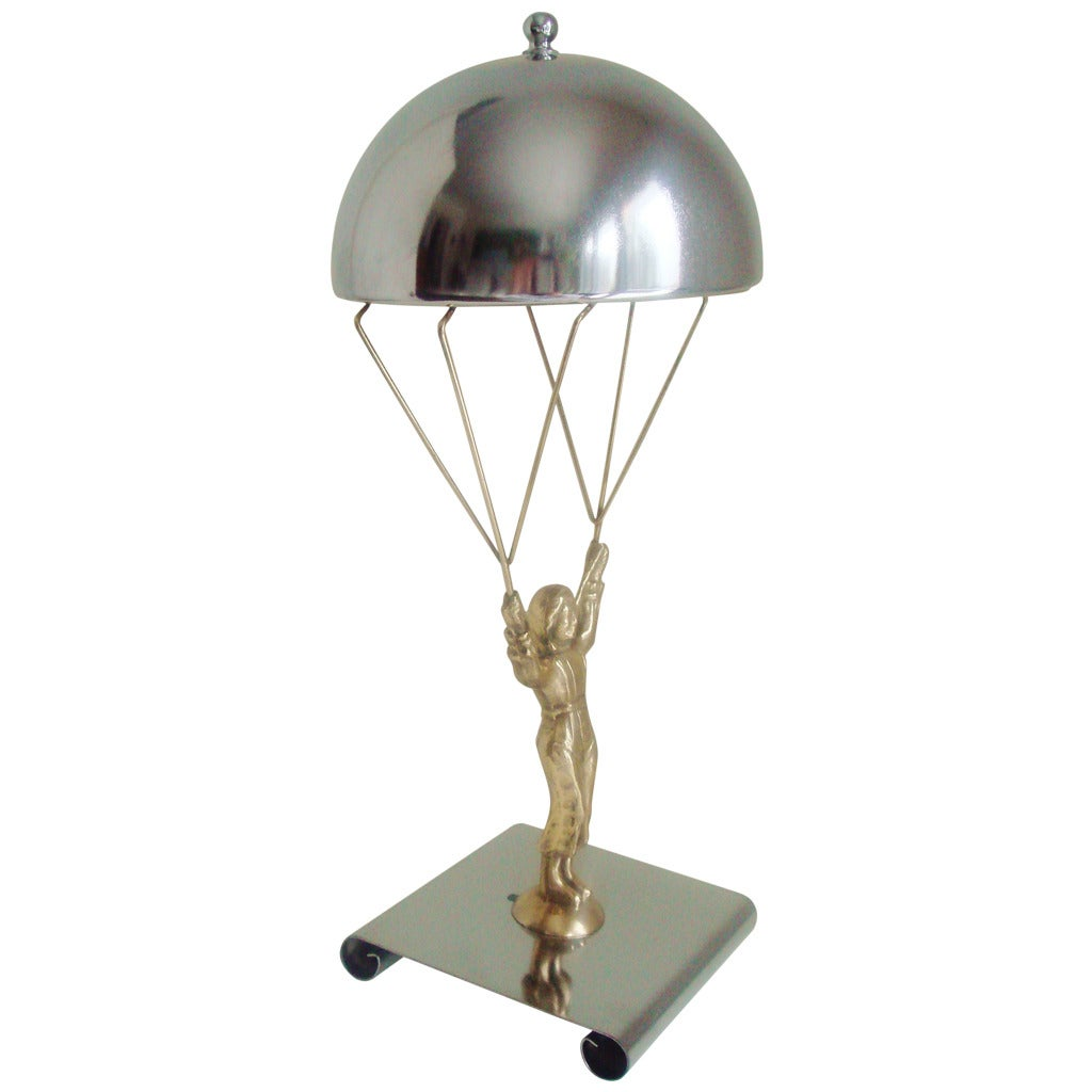 This american art nouveau table lamp is no longer available - American Art Deco Chrome Brass Novelty Parachute Jumper Lamp