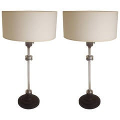 Pair of American Art Deco/Machine Age Tall Console Lamps.