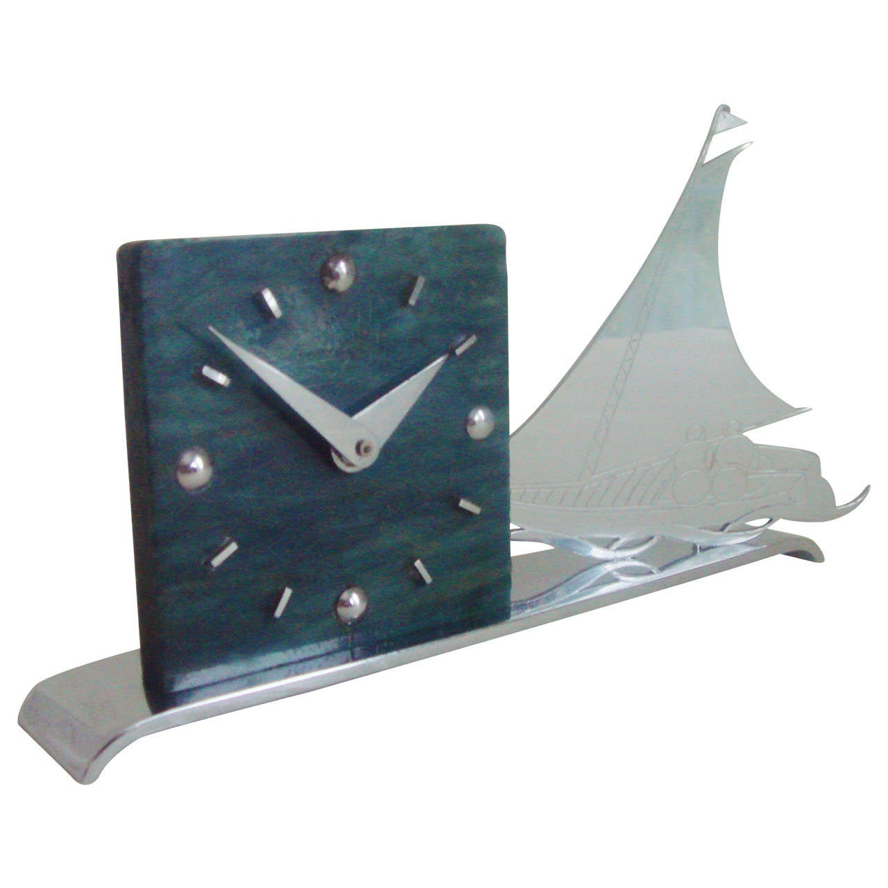 French Art Deco Figurative Marbled Galalith & Chrome Racing Yacht Shelf Clock.