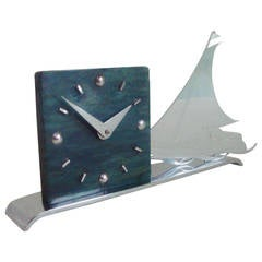 French Art Deco Figurative Marbled Galalith & Chrome Racing Yacht Shelf Clock.