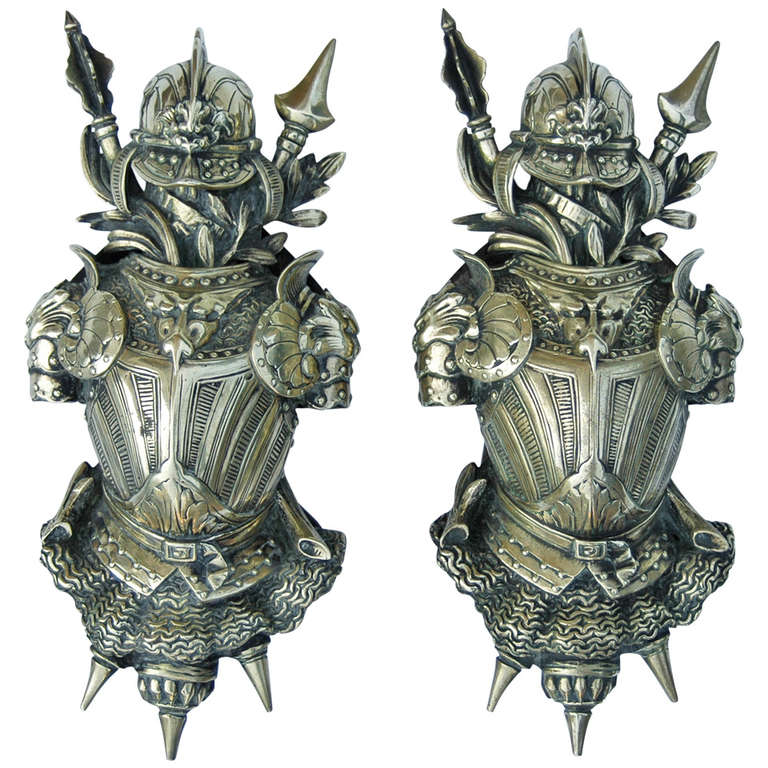 Fine pair of 19th century bronze arms and armor wall for Armor decoration