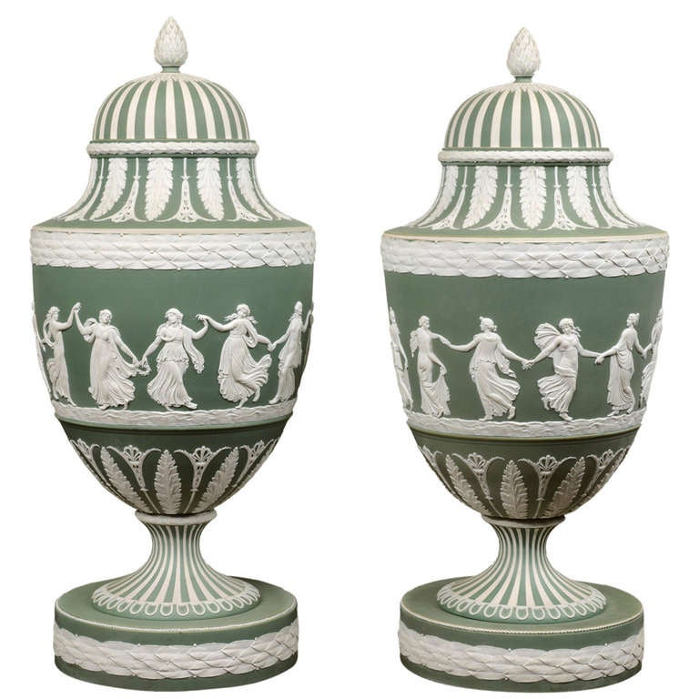 A Large Pair Of Green Ground Jasperware Wedgwood Vases English