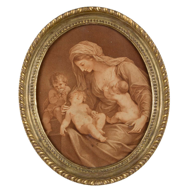 An Oval Sepia Print in a Carved Giltwood Frame - English circa 1798