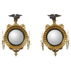 Fine and Small Pair of Regency Convex Mirrors, English, circa 1810