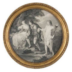 Fine 18th Century Stipple Engraving of Hymen and a Young Couple