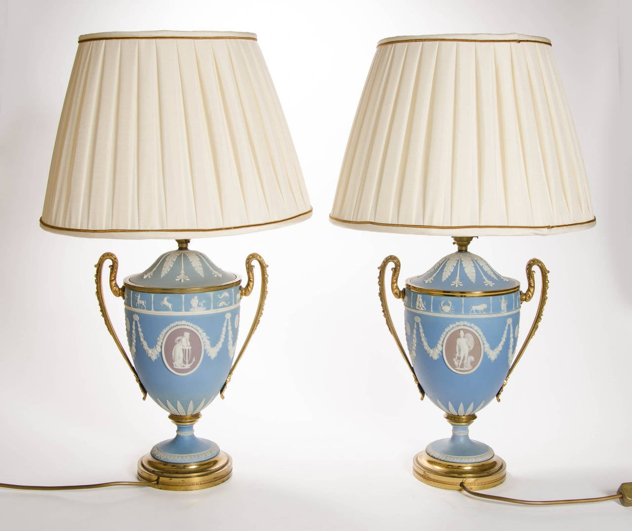 A Pair of Wedgwood Vases as Lamps with ormolu handles and bases 10