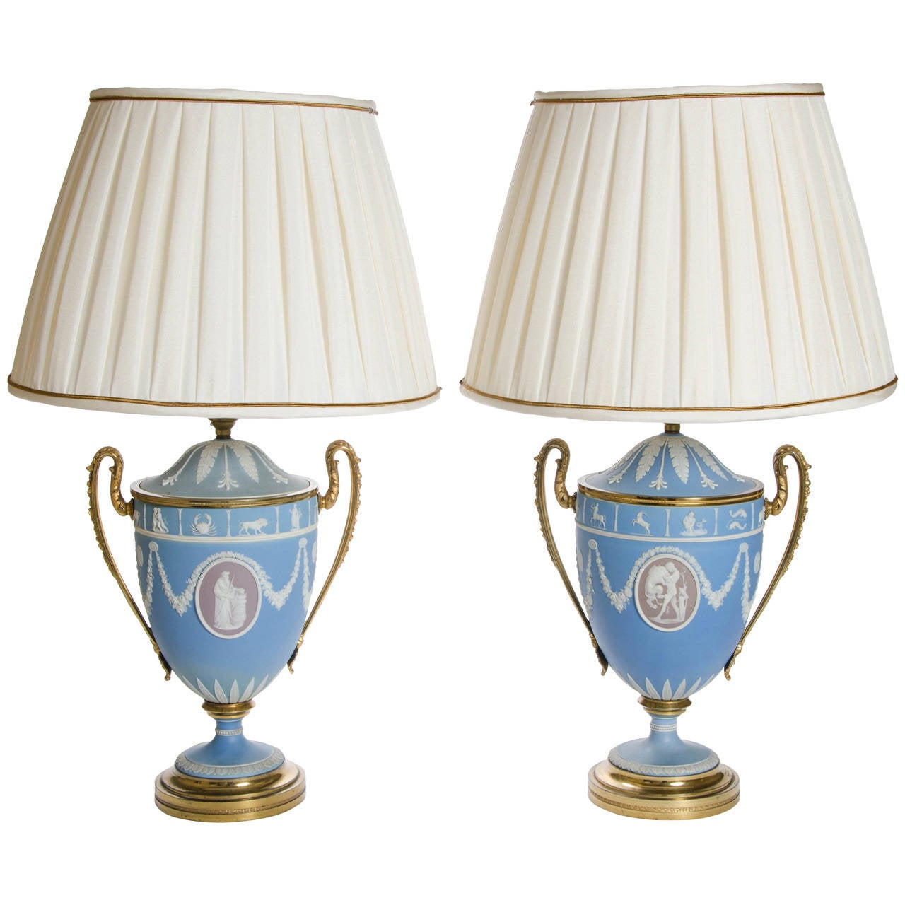 A Pair of Wedgwood Vases as Lamps with ormolu handles and bases 1