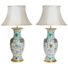 Fine Pair of Famille Rose Vases as Lamps, Chinese, circa 1840
