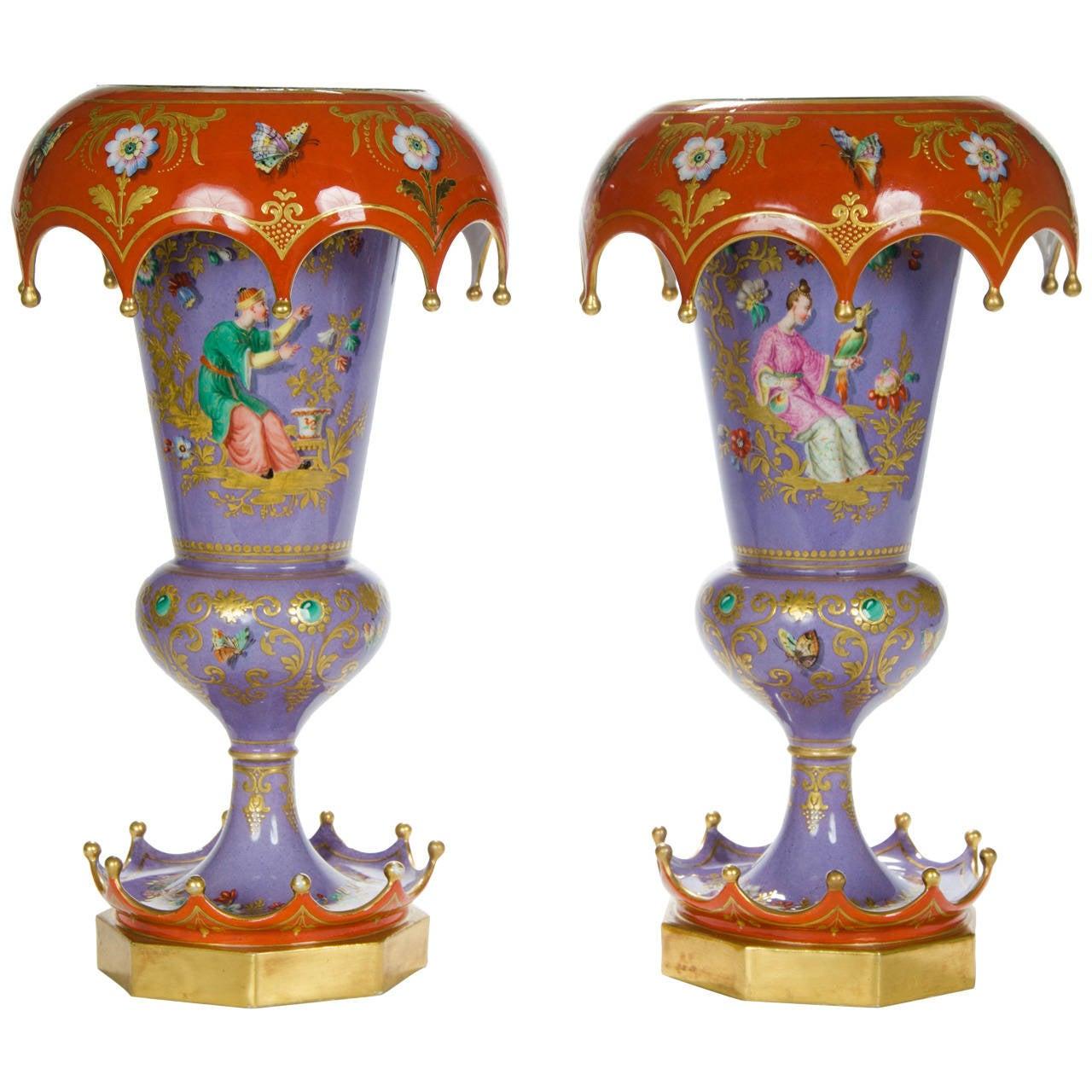 Rare Pair of Chinoiserie Vases, French, circa 1840