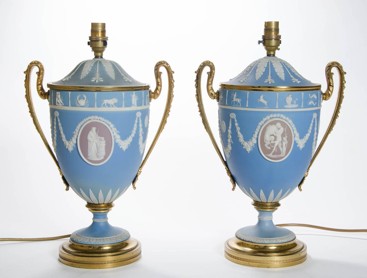 A Pair of Wedgwood Vases as Lamps with ormolu handles and bases 2