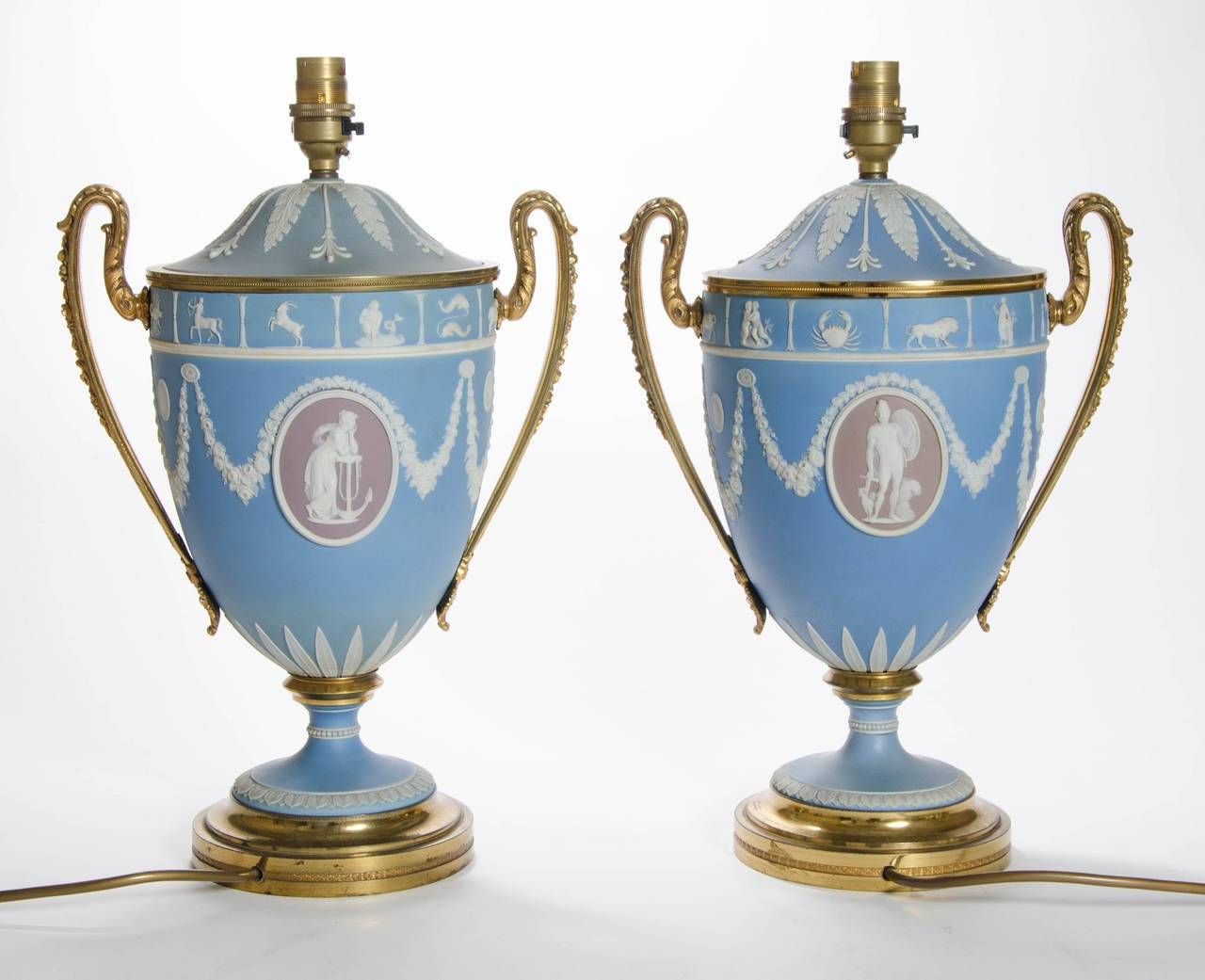 A Pair of Wedgwood Vases as Lamps with ormolu handles and bases 3