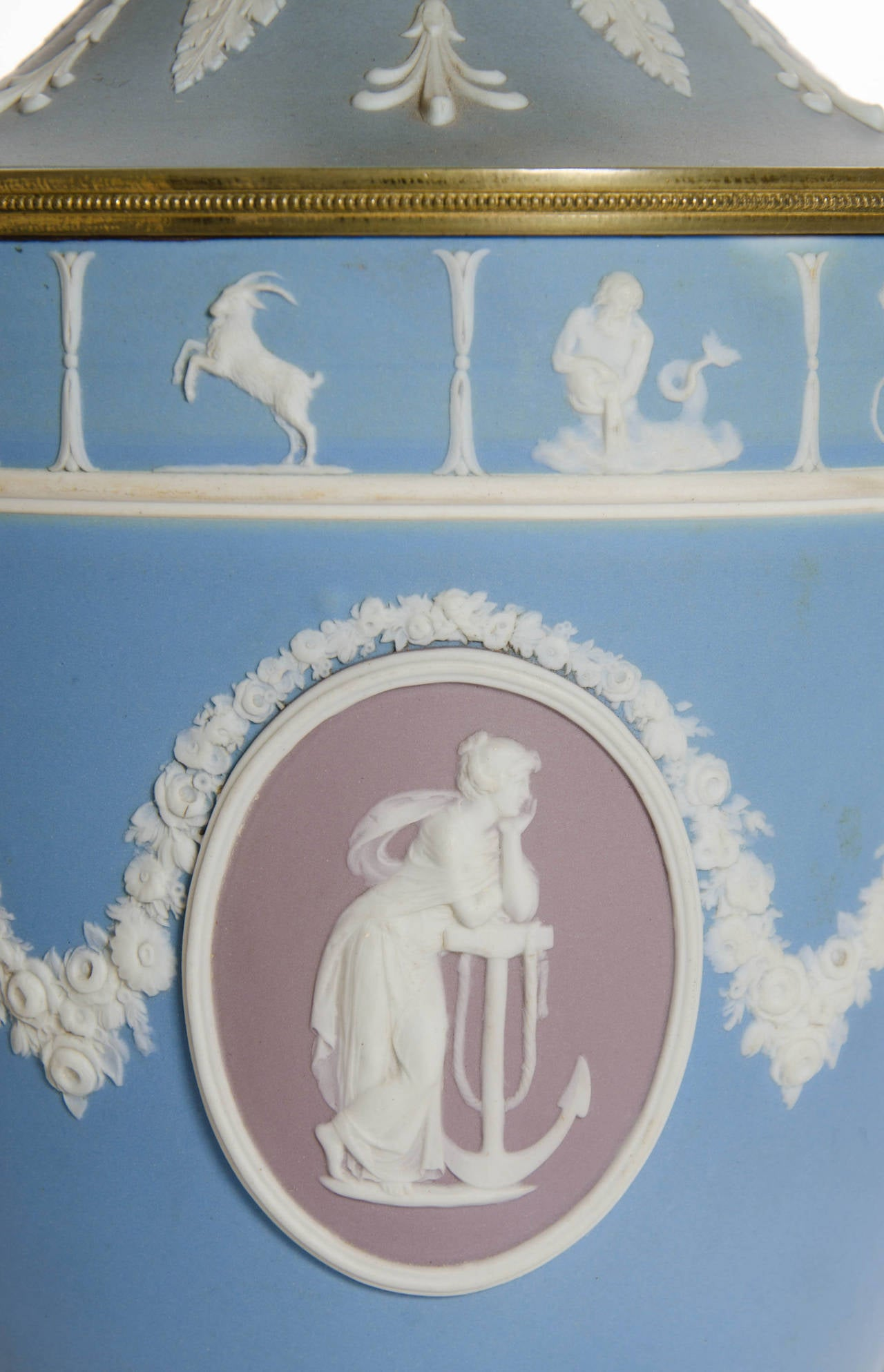 A Pair of Wedgwood Vases as Lamps with ormolu handles and bases 5
