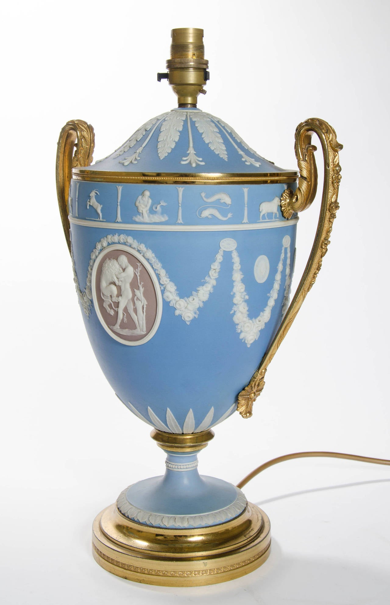 A Pair of Wedgwood Vases as Lamps with ormolu handles and bases 8