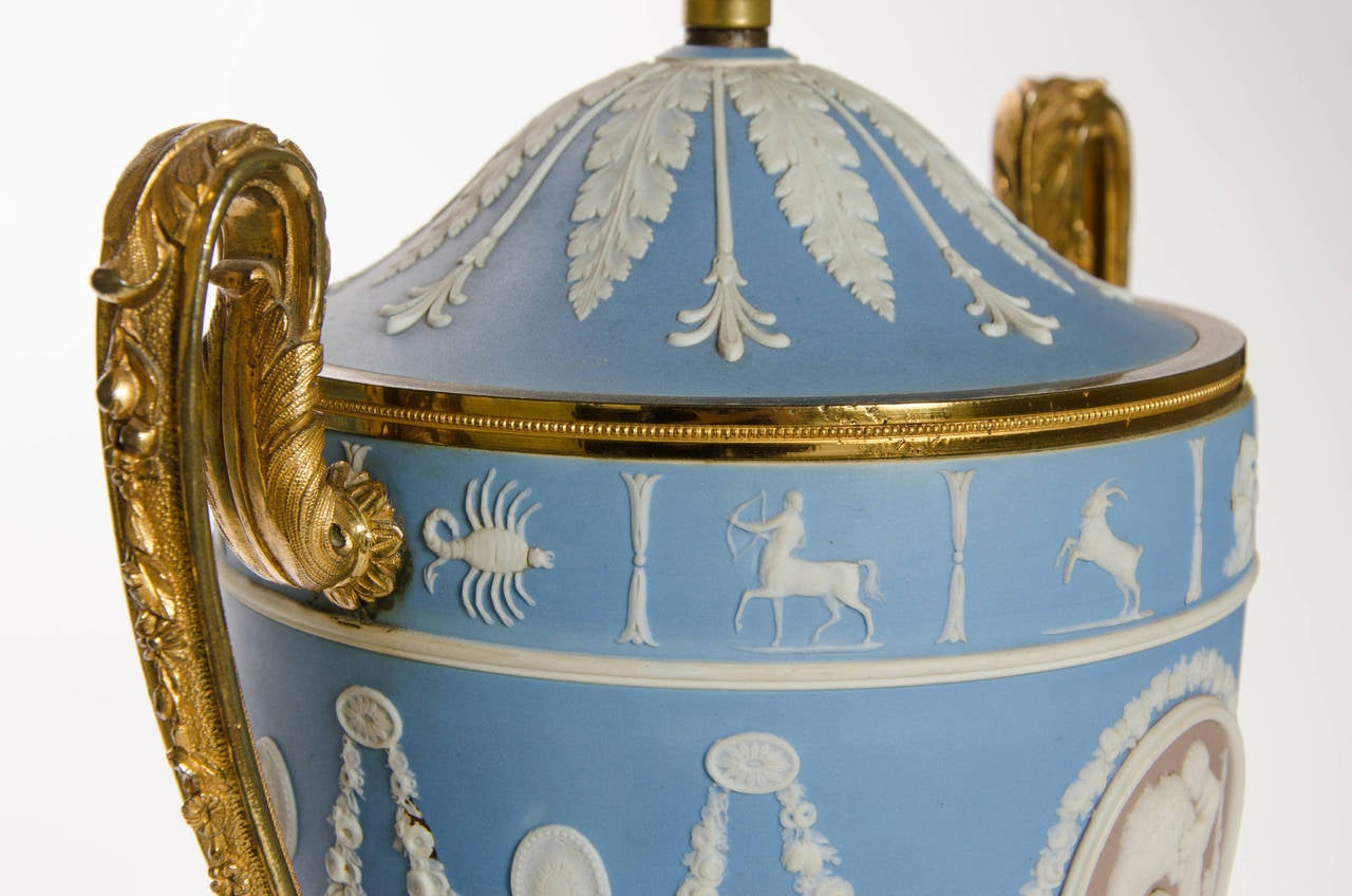 A Pair of Wedgwood Vases as Lamps with ormolu handles and bases 9