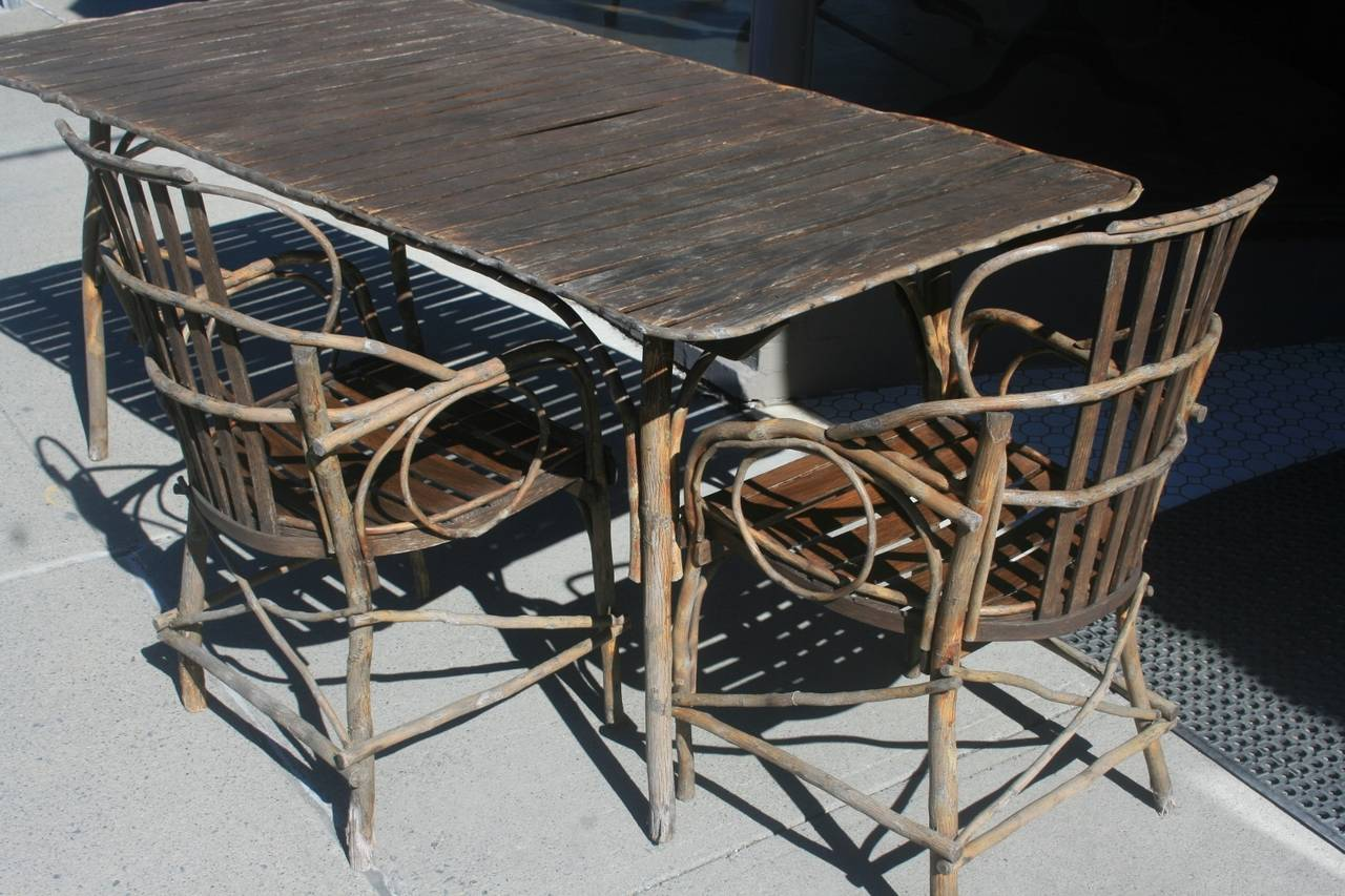 Early Adirondack Twig Chair and Table Set at 1stdibs
