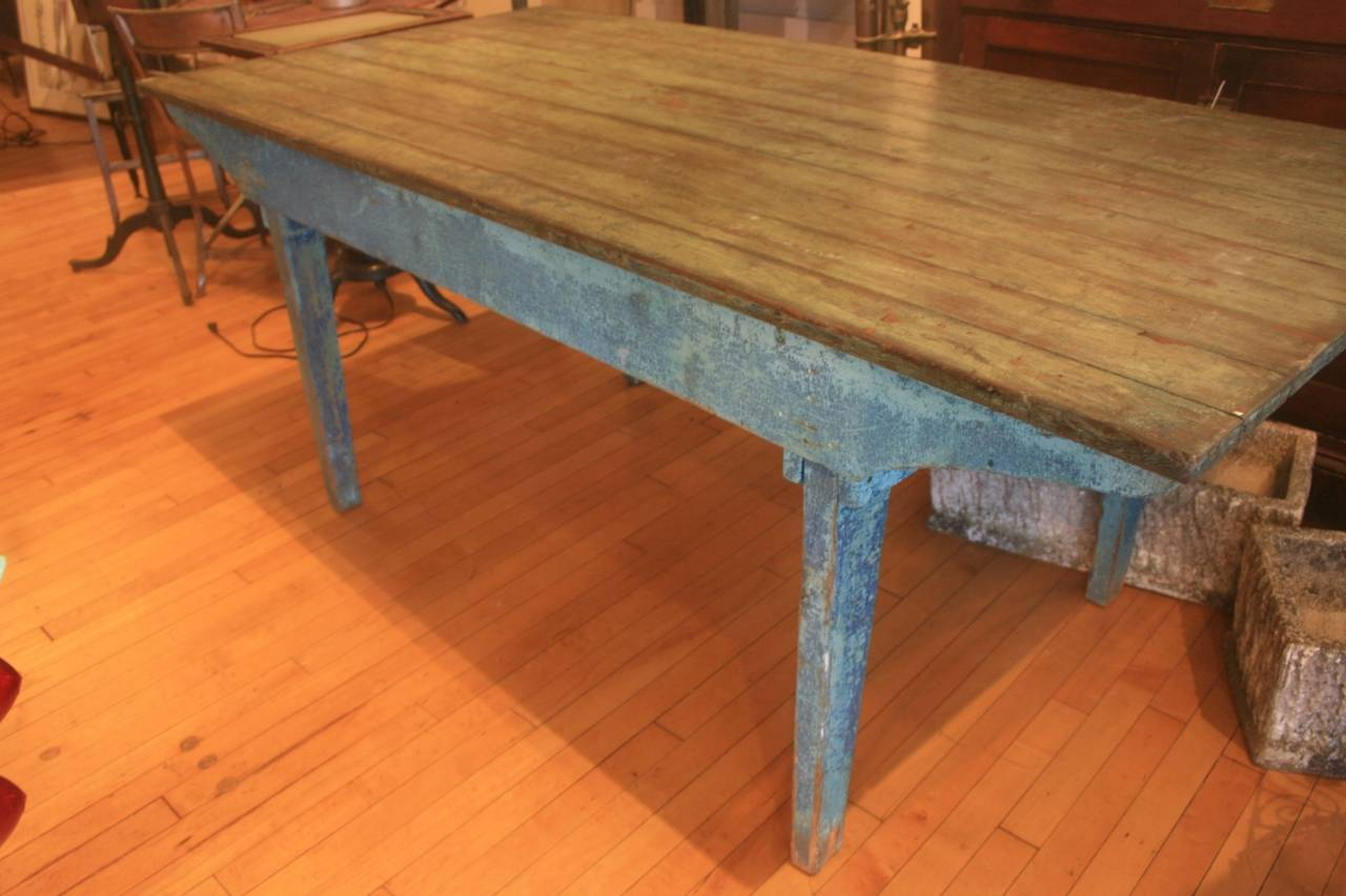 Early 20th Century Blue Painted Dining Table For Sale At 1stdibs