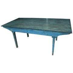Early 20th Century Blue Painted Dining Table