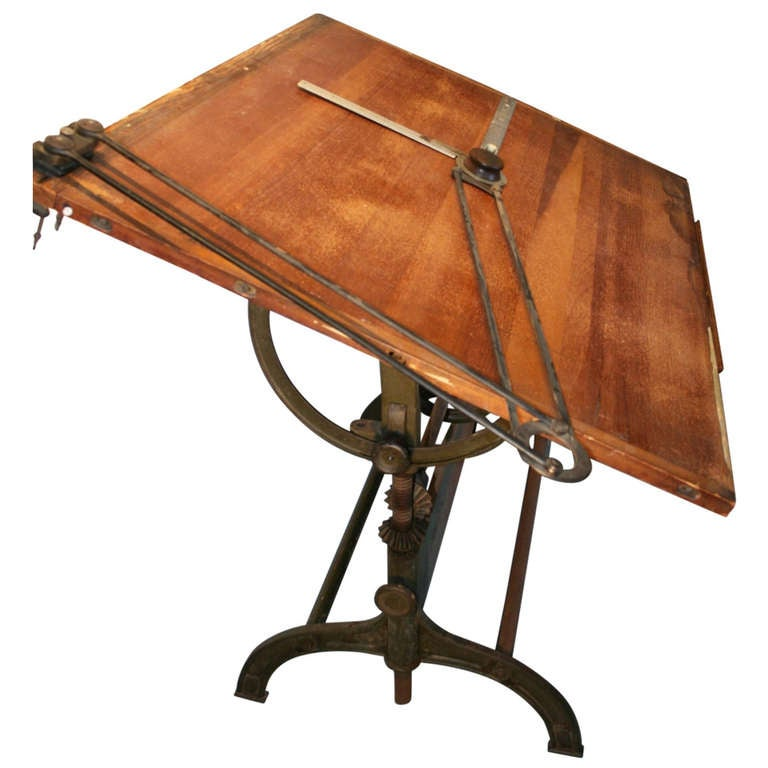 Lovely Great Large Cast Iron Drafting Table 1