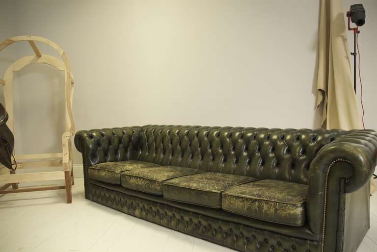 Vintage Emerald Green Leather Four Seater Chesterfield