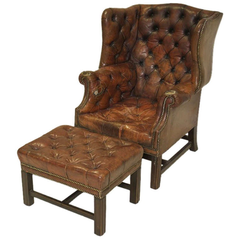 Mid Century Queen Anne Wing Back Chair and Footstool at
