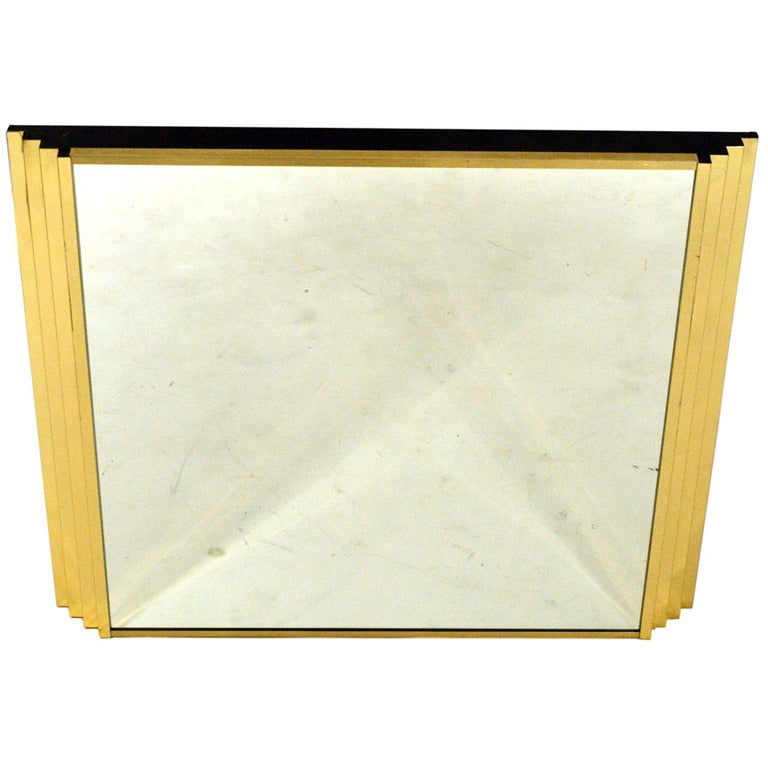 Sculptural Mid-Century Italian Brass Mirror with Relief Edges For Sale