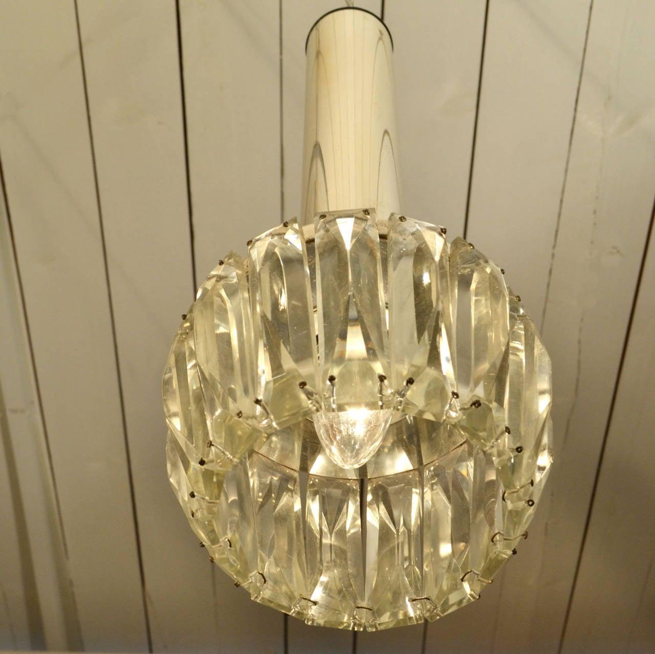 Set Of Three Crystal Pendant Lamps At 1stdibs