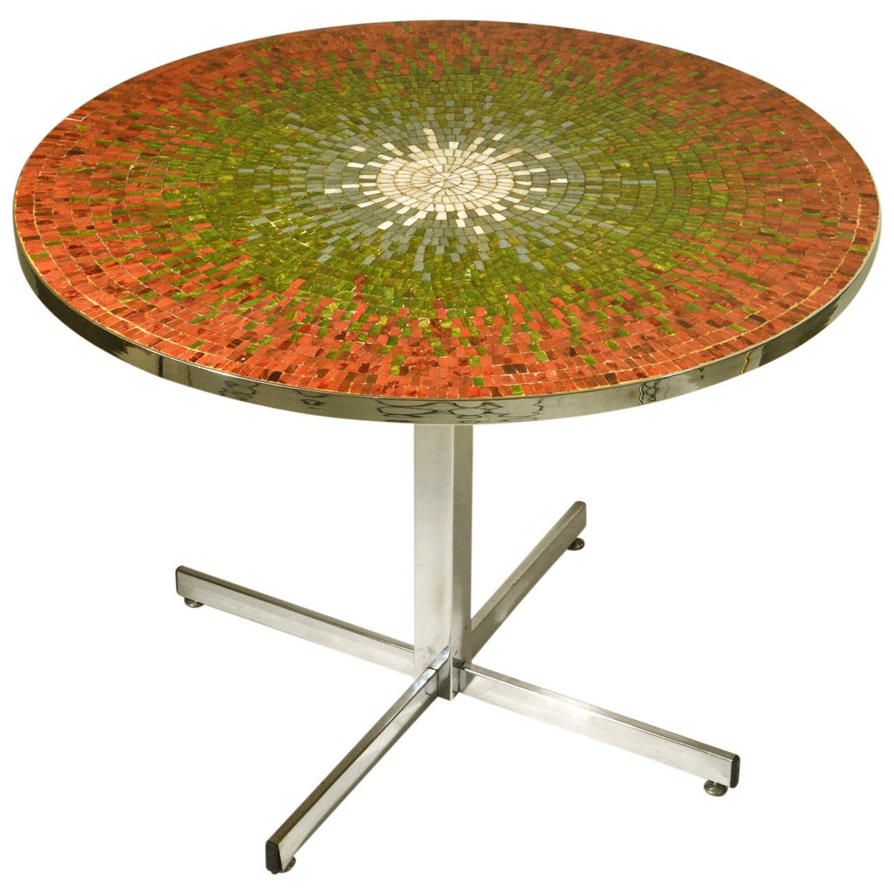 Rainbow of color mosaic dining table at 1stdibs - Colorful dining room tables ...