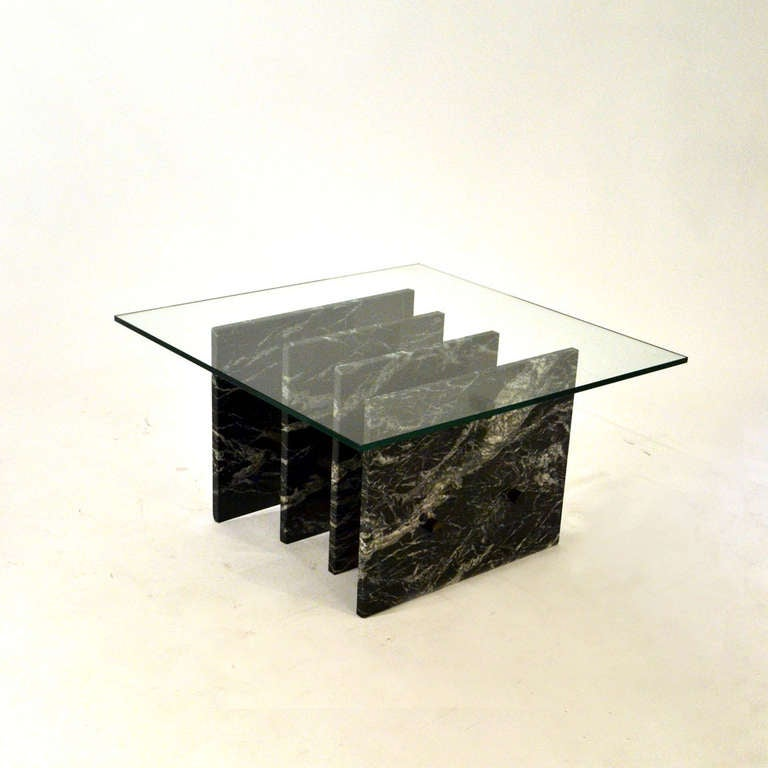 Black Marble And Silver Steel Square Coffee Table: Italian Black Sliced Marble Square Coffee Table At 1stdibs