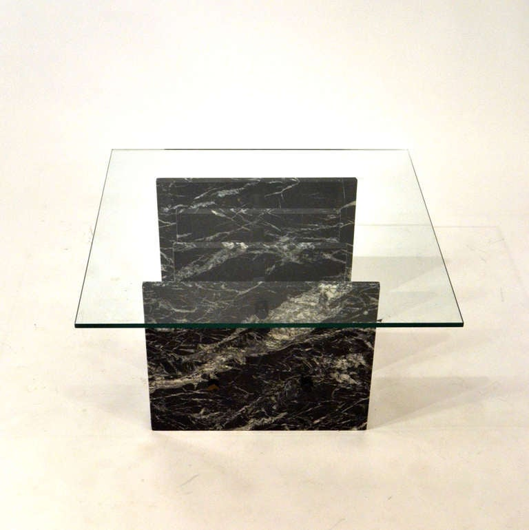 Italian Marble Coffee Or Cocktail Table For Sale At 1stdibs: Italian Black Sliced Marble Square Coffee Table For Sale