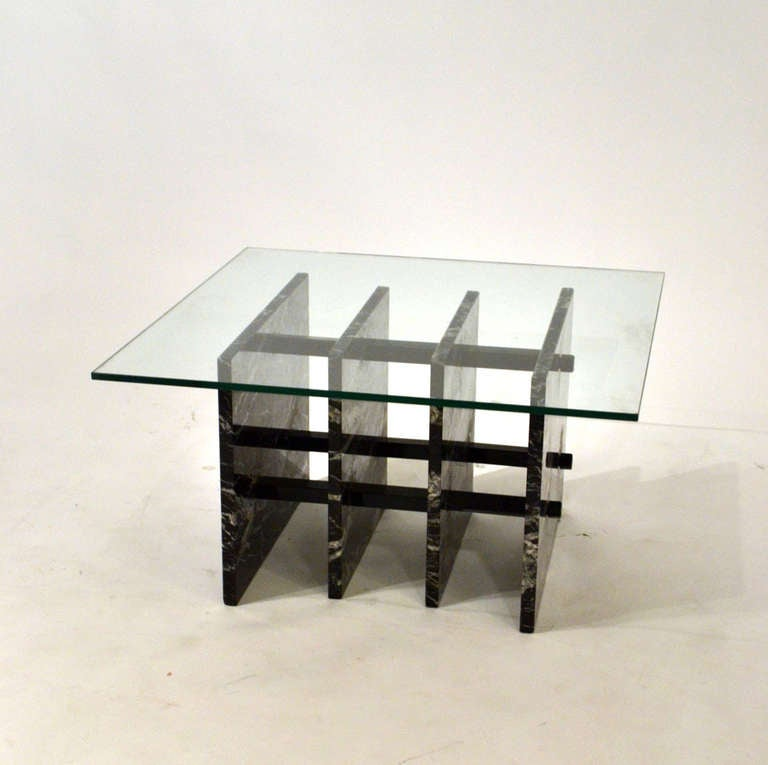 Square Steel Coffee Table Italian C 1970: Italian Black Sliced Marble Square Coffee Table For Sale