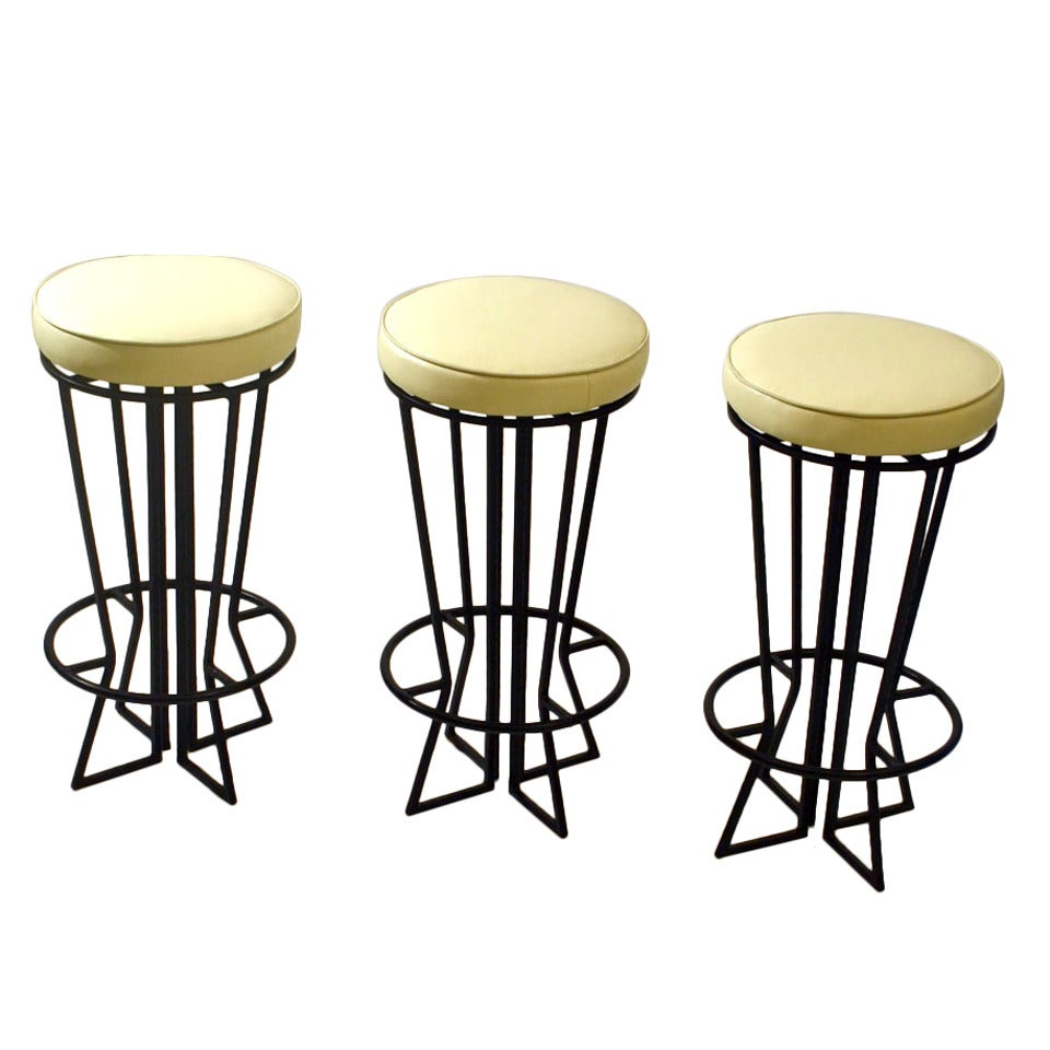 Three French Bar Stools At 1stdibs
