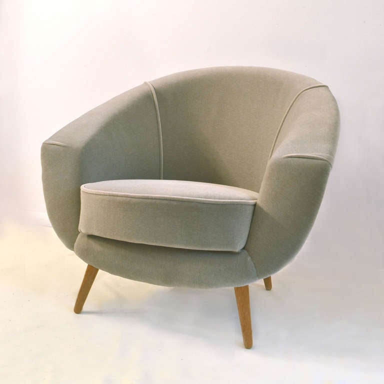 1950 s Light Grey Mohair Lounge Chair at 1stdibs
