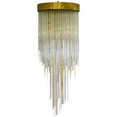1960's Italian Tier Glass and Brass Flush Mount Waterfall Chandelier