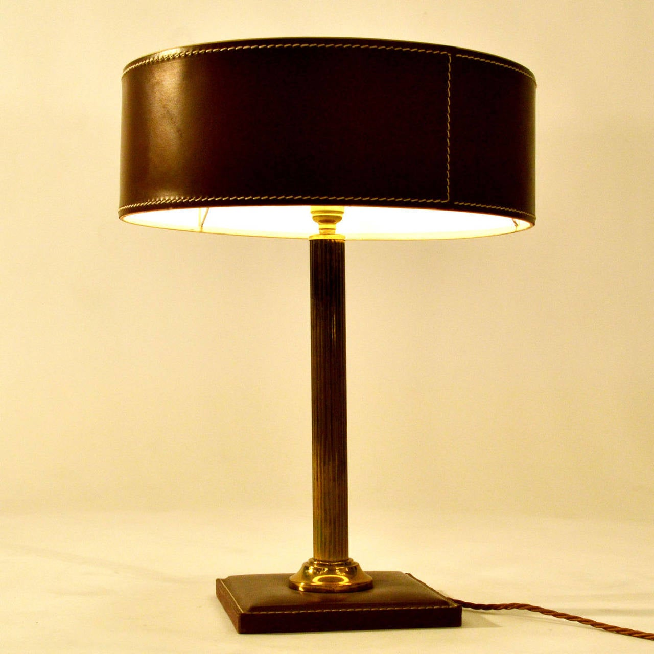 Leather Table Lamp Attributed Adnet For Sale at 1stdibs