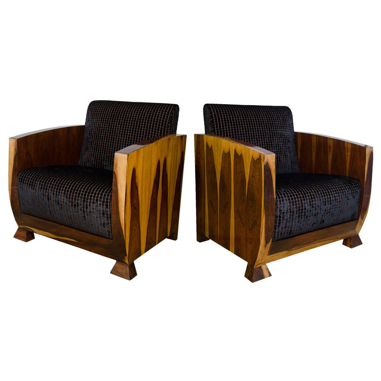 1930s Art Deco Rosewood Pair of Club Chairs Upholstered in Chocolate Brown