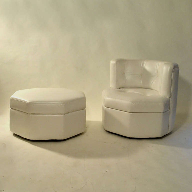 1960u0027s Minimal Othogonal Chair and Stool in White Leather 3 & 1960u0027s Minimal Othogonal Chair and Stool in White Leather For Sale ... islam-shia.org