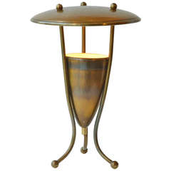 1950's French Brass Table Lamp on Tripod Legs