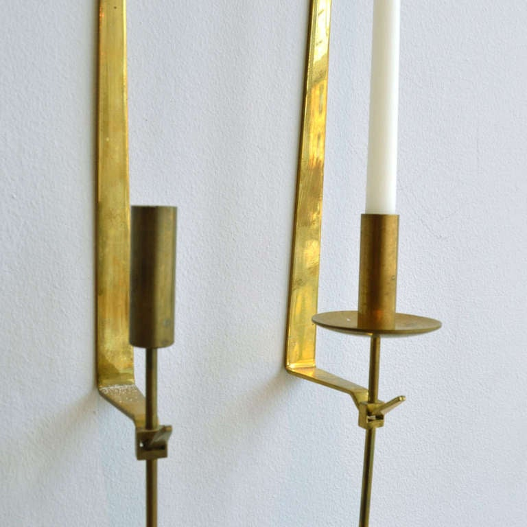 Scandinavian Modern Midcentury Swedish Brass Pendel Candlesticks by Pierre Forsell For Sale