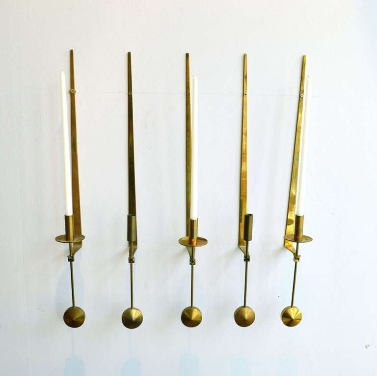 20th Century Midcentury Swedish Brass Pendel Candlesticks by Pierre Forsell For Sale