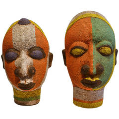 Pair of Beaded Head Sculptures