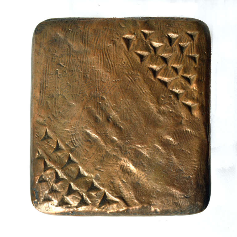 Unknown Door Handle Bronze with Fixtures For Sale