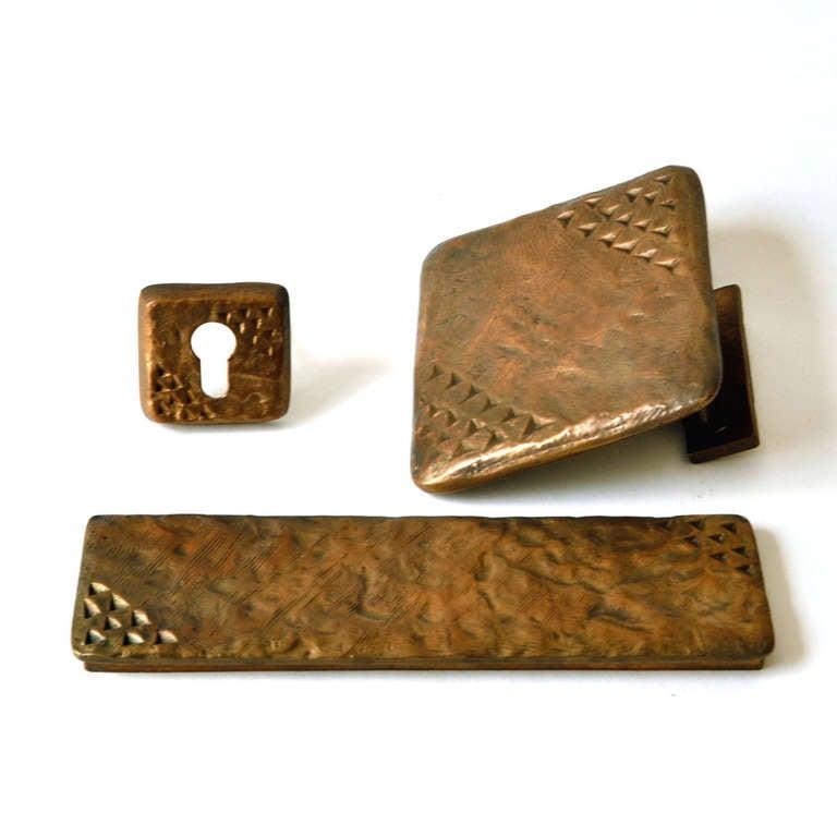 Mid-Century Modern Door Handle Bronze with Fixtures For Sale