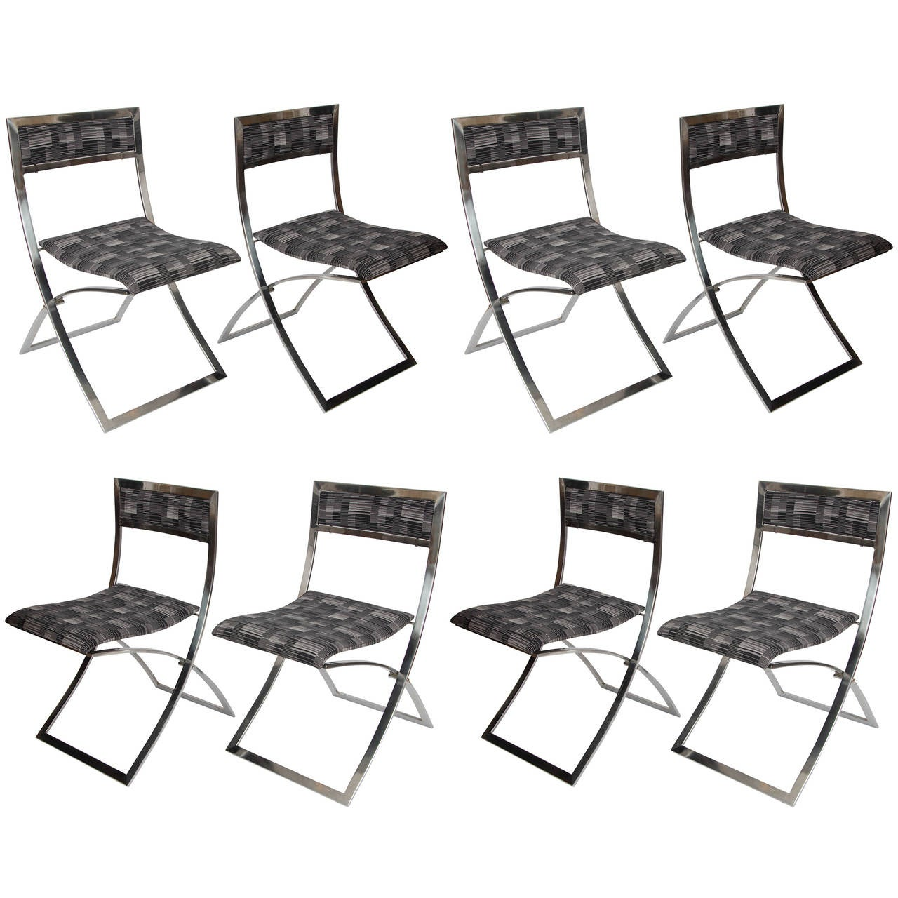 Set of Eight Stainless Steel Folding Dining Chairs Luisa by – Foldable Dining Chairs
