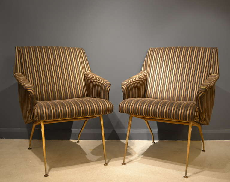 Brass Pair of 1950's French Lounge Chairs in Luxurious Black and Gold Striped Fabric For Sale