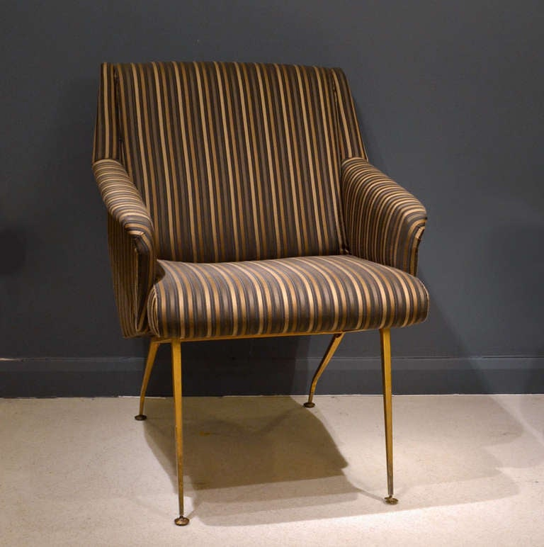 Pair of 1950's French Lounge Chairs in Luxurious Black and Gold Striped Fabric For Sale 1