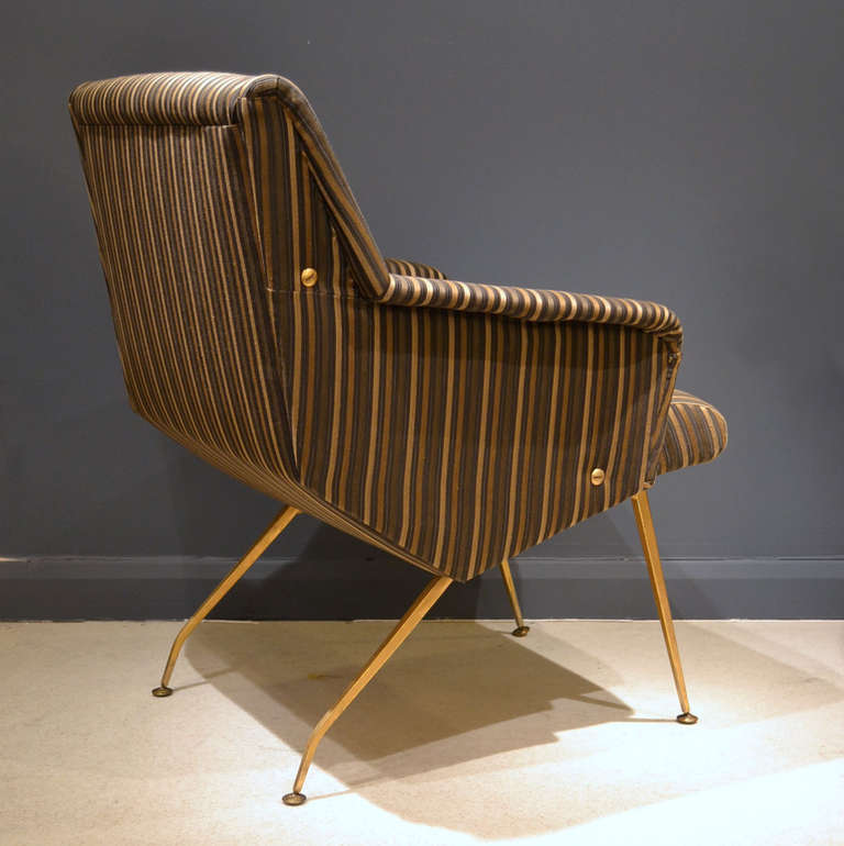 Pair of 1950's French Lounge Chairs in Luxurious Black and Gold Striped Fabric For Sale 2
