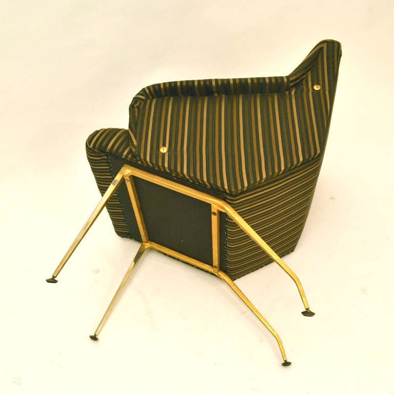 Mid-20th Century Pair of 1950's French Lounge Chairs in Luxurious Black and Gold Striped Fabric For Sale