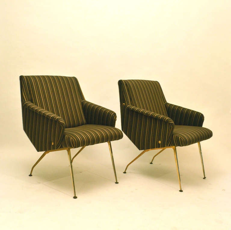 Pair of 1950's French Lounge Chairs in Luxurious Black and Gold Striped Fabric In Excellent Condition For Sale In London, GB